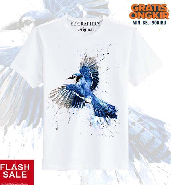 Sz Graphics Bird Freeze T Shirt Pria Kaos Pria T Shirt Fashion Pria -Putih