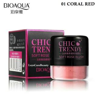 Bioaqua Chic Trendy Soft Rose Blush On Powder - 01 CORAL RED thumbnail
