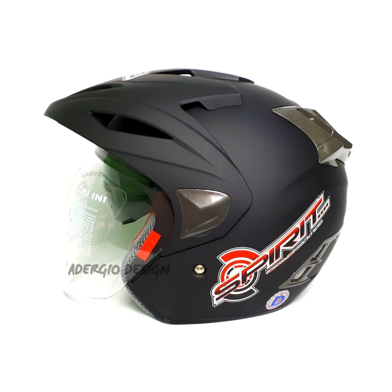 Helm GAG Spirit Solid Double Visor - Black Doff Lisensi DOT & SNI