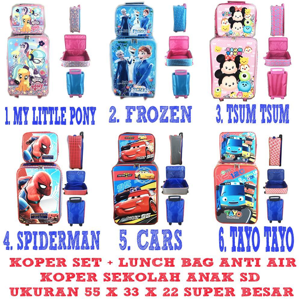 Special Hanya di Lazada BGC Tas Koper Sekolah Anak SD Anti Air Pony Frozen Tsum Tsum Spiderman Cars Tayo JUMBO ( 55 x 33 x 22 ) PILIH VARIAN