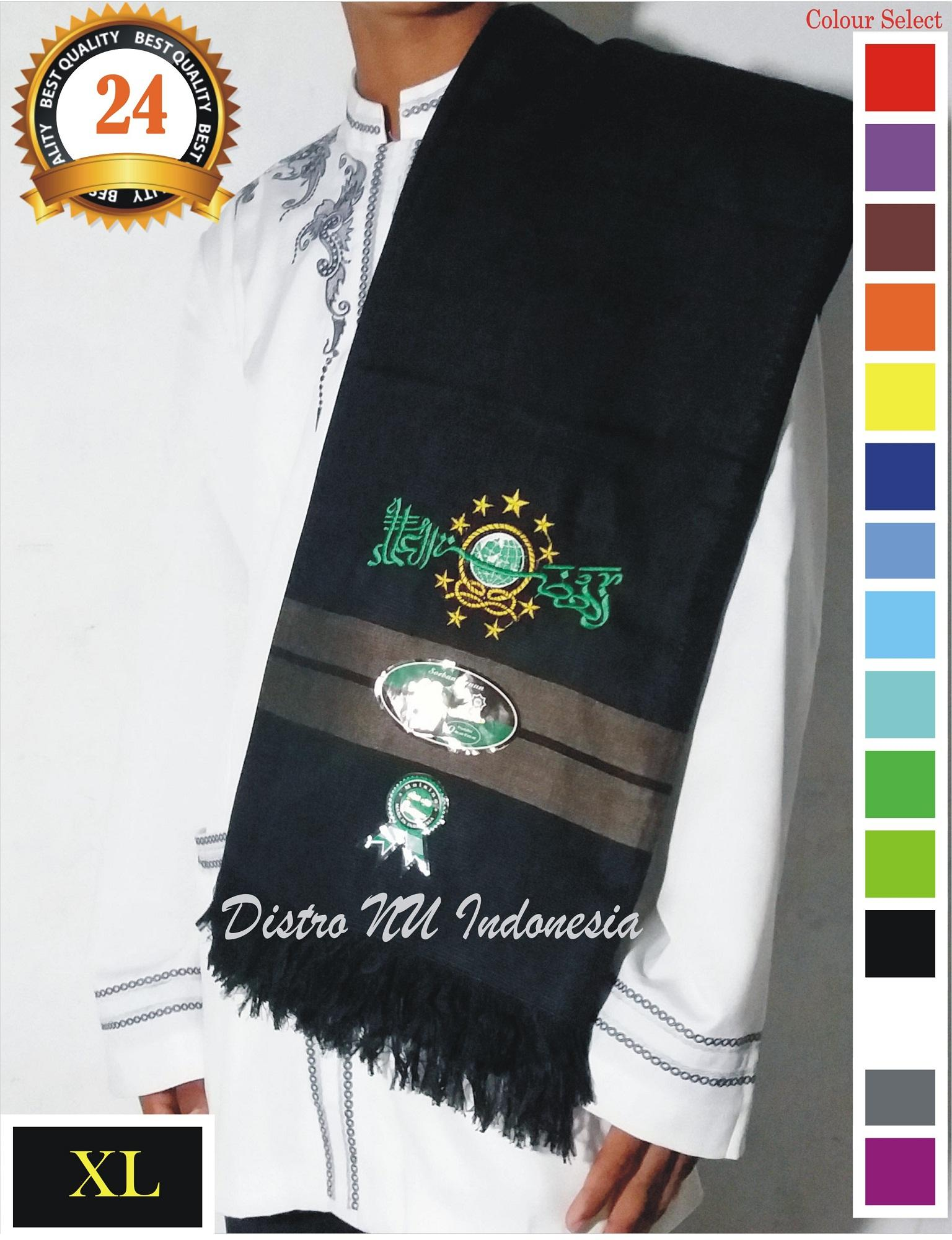 SORBAN NU XL BORDIR TEBAL BAGUS TENUN MO HITAM DPN COKLAT / surban / sajadah / sarung / batik nu / jasko / koko / busana muslim / peci / songkok / gamis / jubah / sarung nu / jas nu / jasket / kerudung baru / baju wanita / kemeja / kaos distro