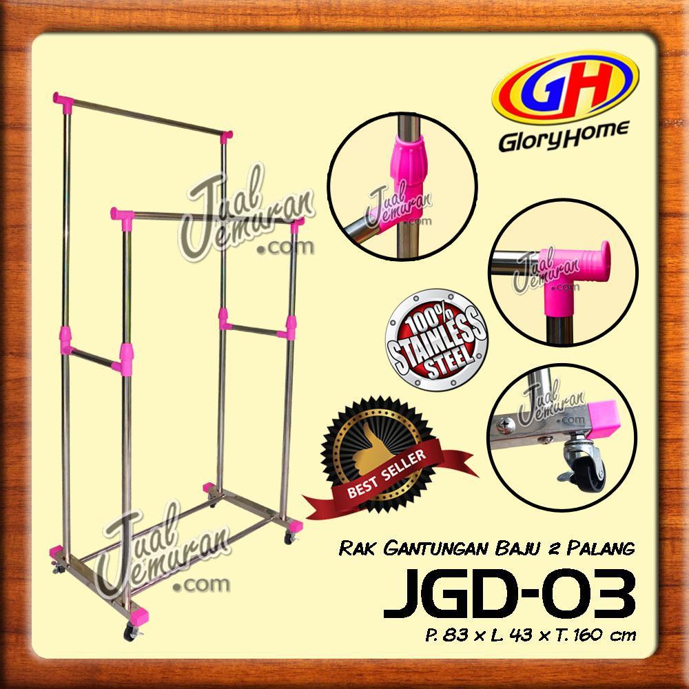 Glory Home Jemuran Baju / Rak Gantungan 2 Palang + Roda