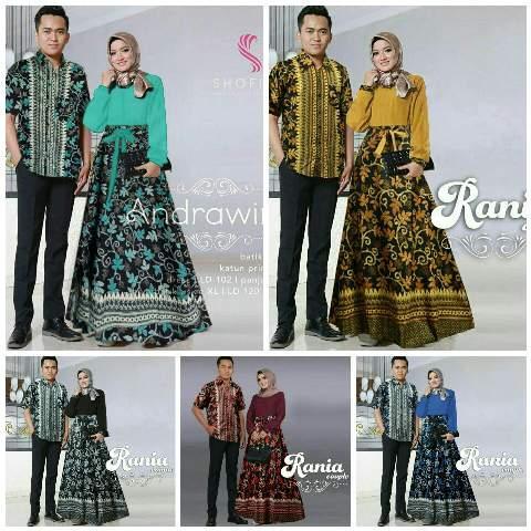 ... Zr Rania Couple 162 000 Gamis katun busui kombinasi batik katun pinggang pita karet blkg LD110cm