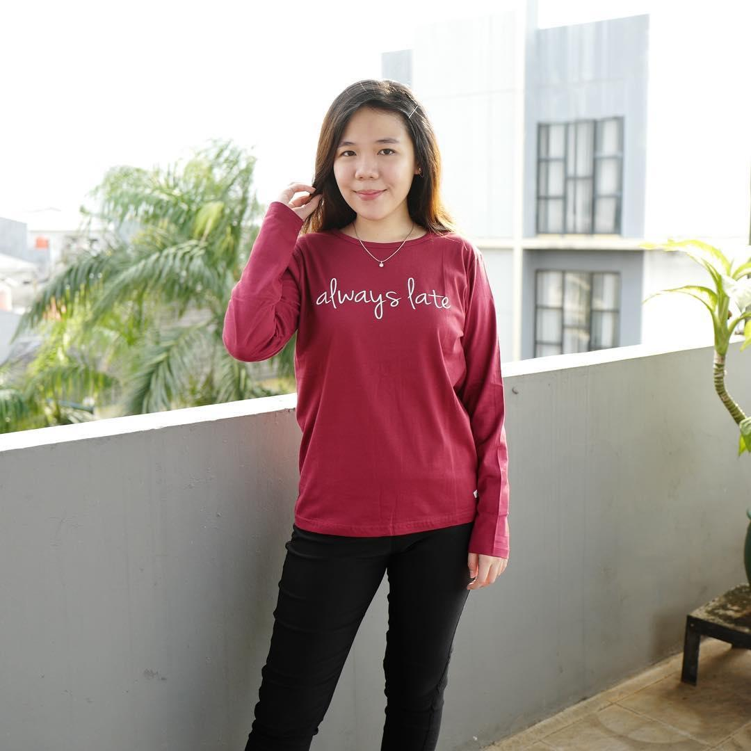 POLARISSHIRT – Tshirt ALWASY LATE Lengan Panjang Longsleeve Cewek / Kaos Wanita / Tshirt Cewe Cotton