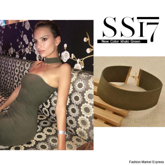 1 barang ditemukan dalam ASOS · Khaki Green Velvet Suede Wider Leather  Choker 326ee1b794