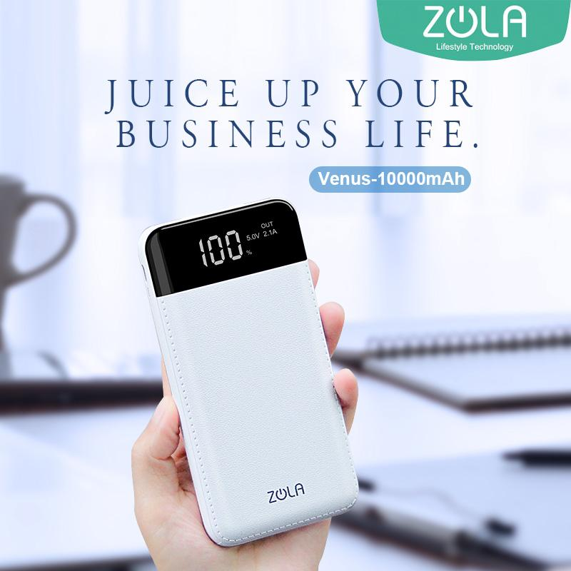 Powerbank ZOLA Venus Kapasitas Real 10000mAh Smart LED Display Fast Charging 2.1A - White