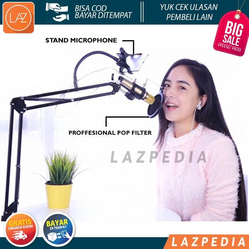 Laz COD - Condenser Microphone Stand Holder 360 Lazypod With Smartphone Clamp Untuk Keperluan Recor