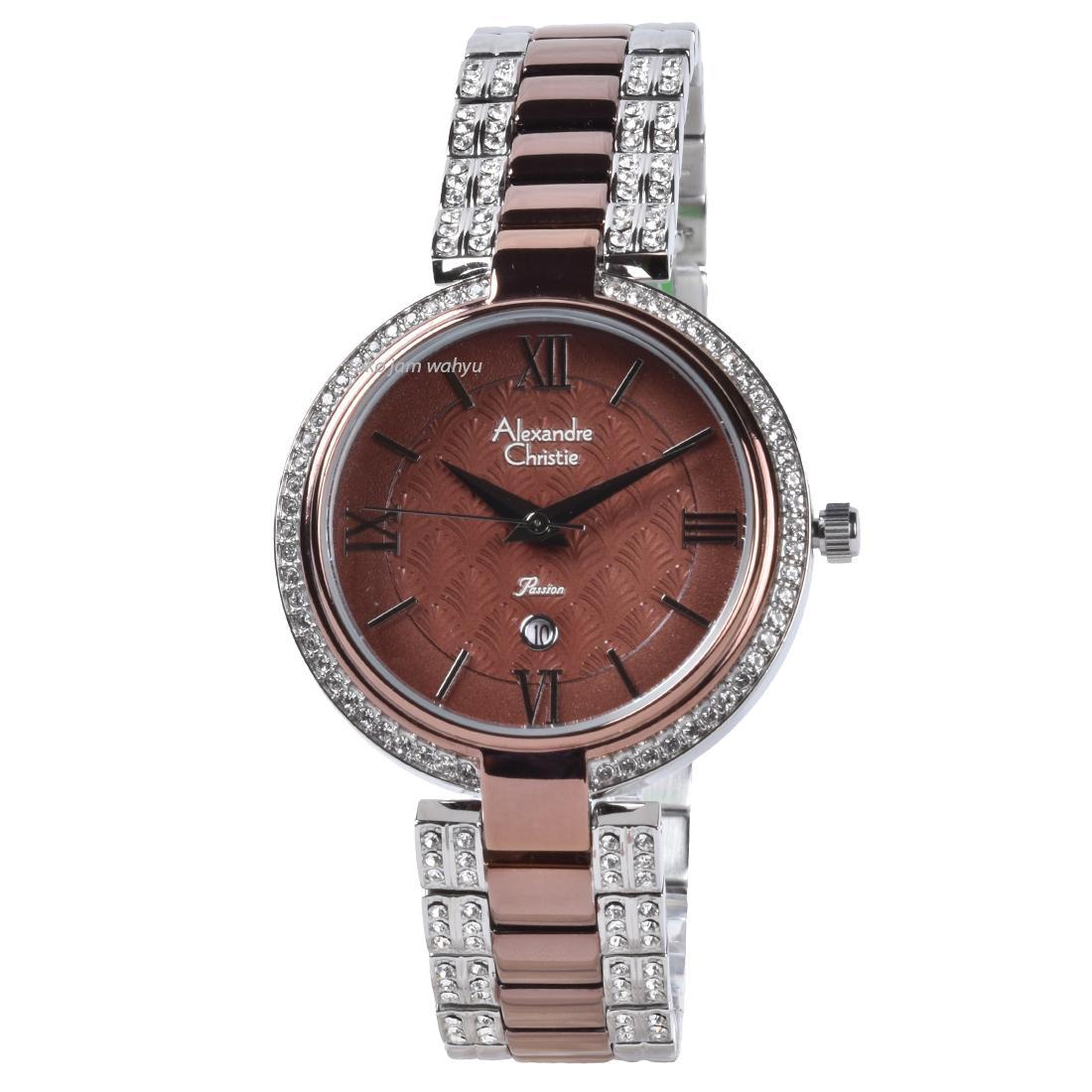 Alexandre Christie 2739 Jam Tangan Wanita - Silver Brown - Stainless Steel