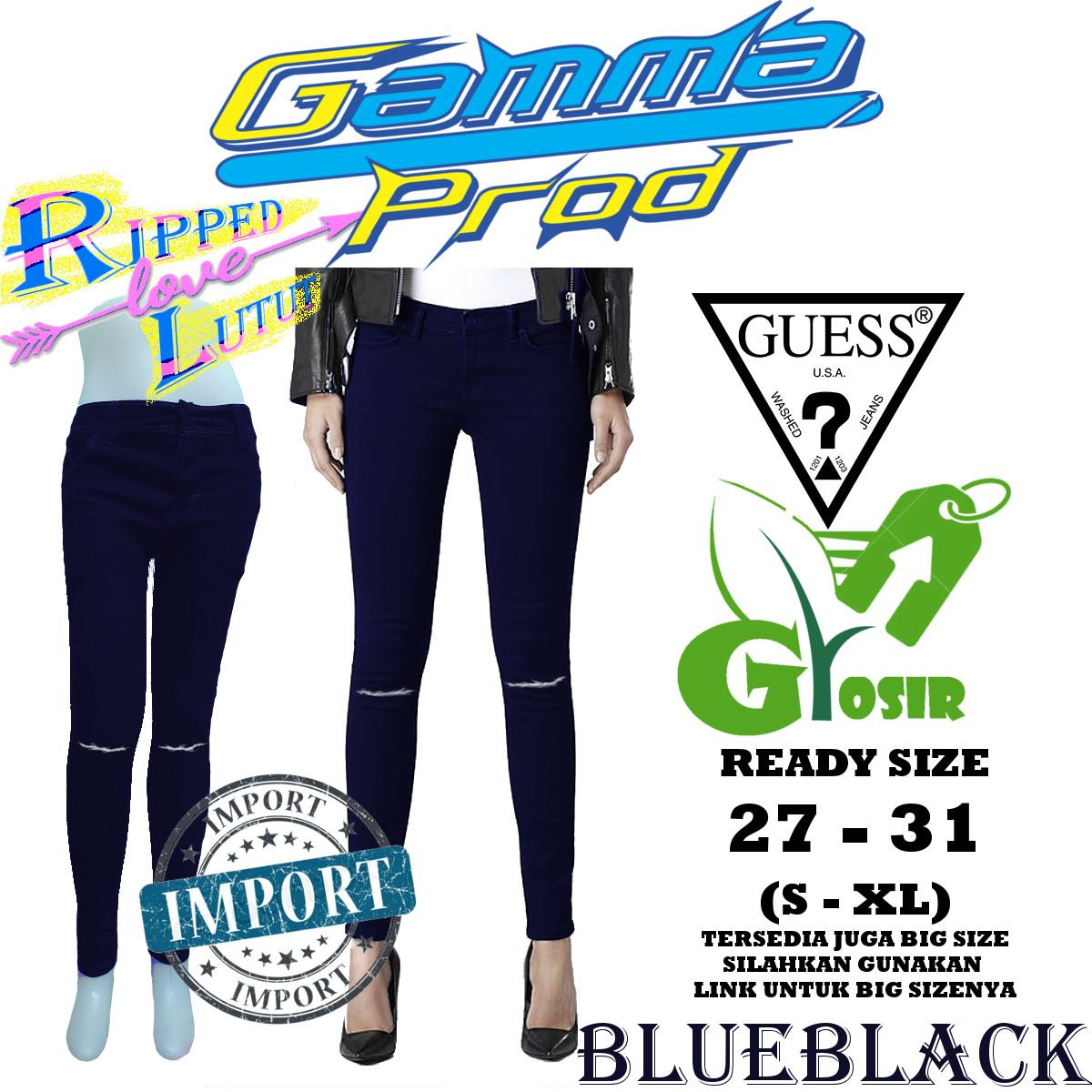 Celana Skinny Soft Jeans WANITA RIPPED LUTUT GUESS BLUE BLACK GROSIR 943e43fdeb