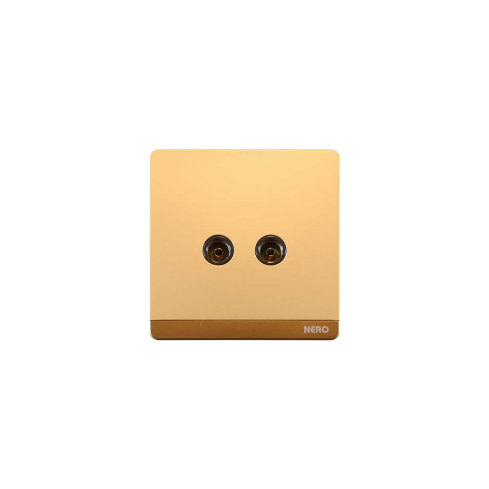 Nero Decora Q72TV-G Saklar Listrik ( 2 Gang TV Outlet ) - Gold e