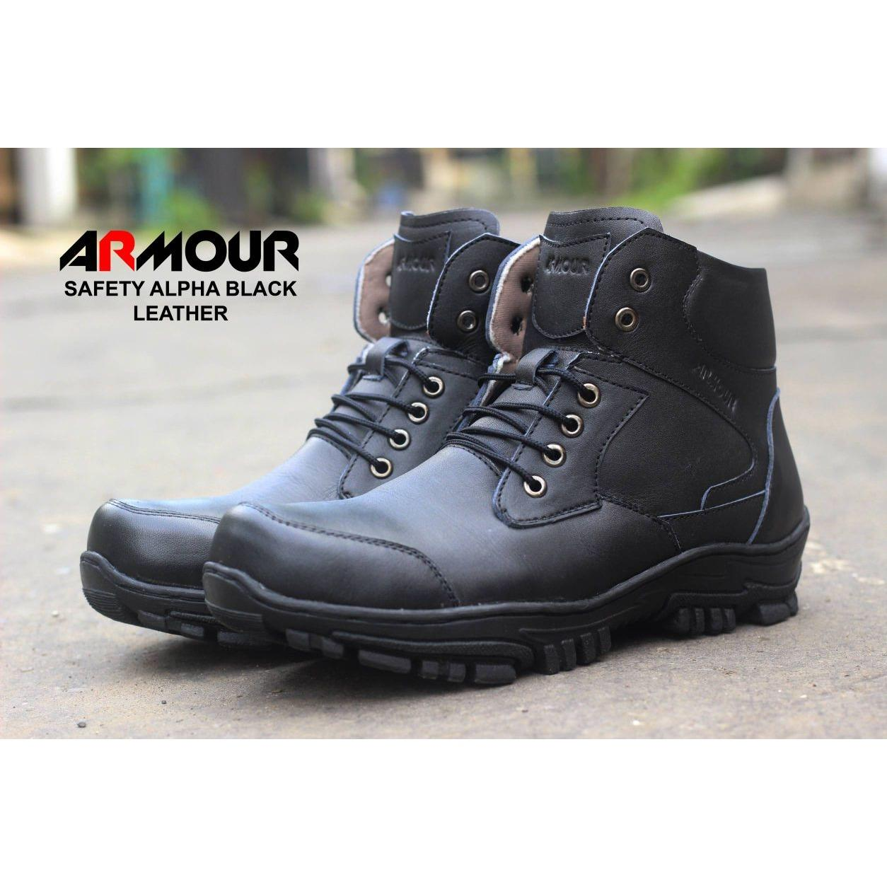 Sepatu Boots Safety Pria armour Kicker BRV / Hiking / Gunung / Touring / Semi Boots / Casual Cowok / Murah kulit asli PDL pendek tentara sepatu tactical gaul