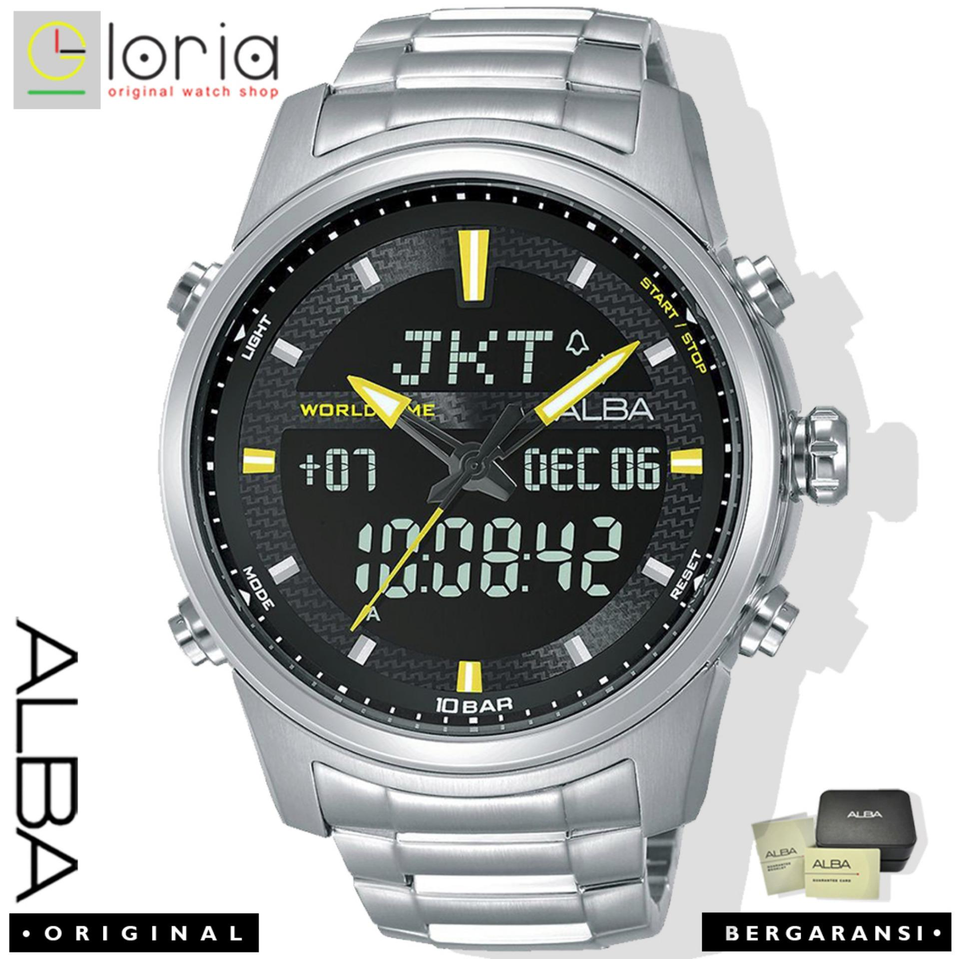 Alba AZ40 Series Jam Tangan Pria Dual Time Digital Analog Tali Stainless / Nylon / Kulit