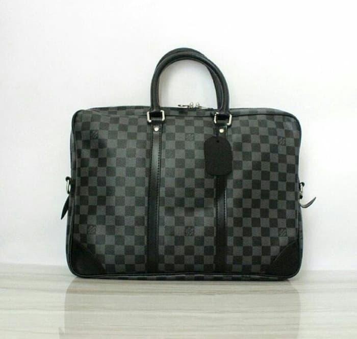 BEST SELLER!!! Jual Tas Lv Portee Document Bag Damier Graphite Mirror Quality