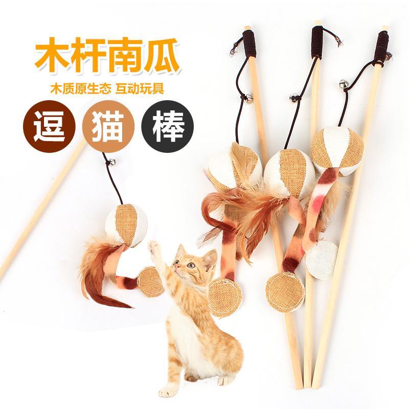 Mainan Kucing Lucu Anak Kucing Tongkat Bulu Kucing Bahan Kayu Rajut