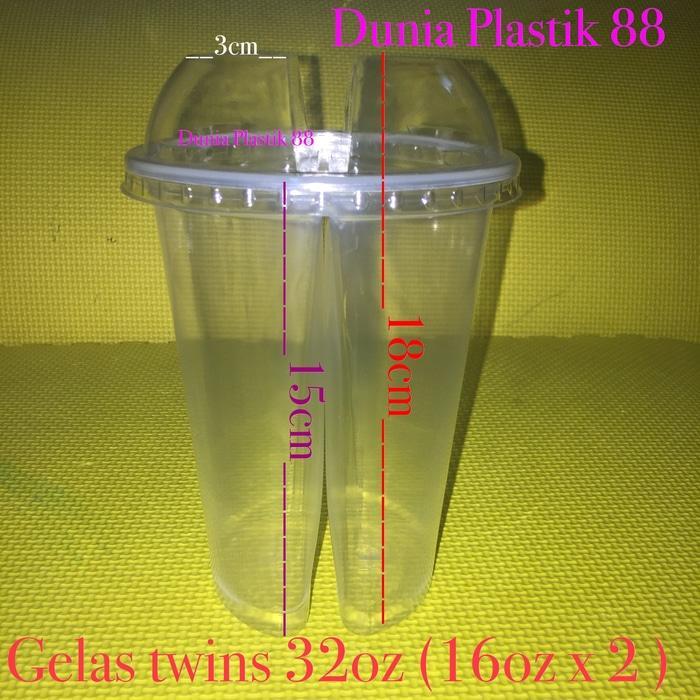 BEST SELLER!!! GELAS plastik unik kembar TWIN twins CUP 32oz 2 rasa minuman +TUTUP - Gf3XIX