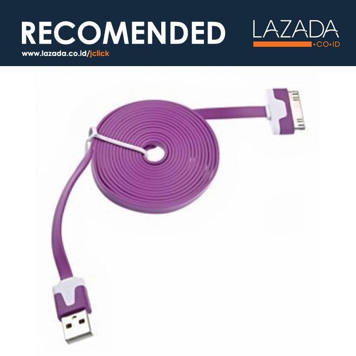 Taffware Flat Noodle Charging SYNC Data USB Cable for Smartphone - Panjang Kabel 100 CM - Warna Ungu - Tipe Plug Kabel 30 Pin Apple