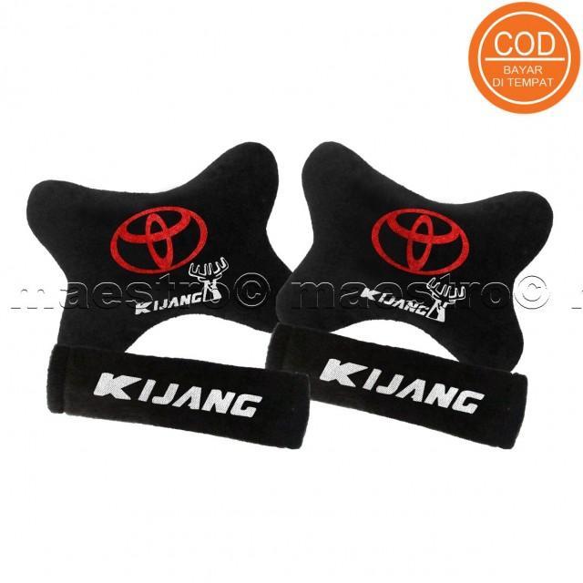 Aksesoris bantal leher jok mobil lucu unik Set 2in1 Toyota Kijang
