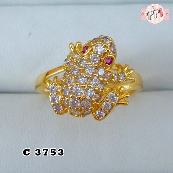 Perhiasan Cincin Model Katak Permata C 3753
