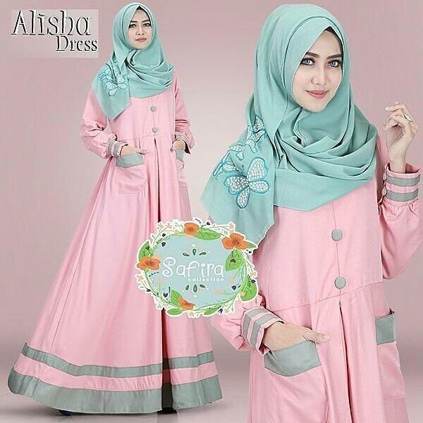 Baju Original Alisha Dress Balotelly Gamis Panjang Hijab Casual Pakaian Wanita Terbaru Tahun 2018