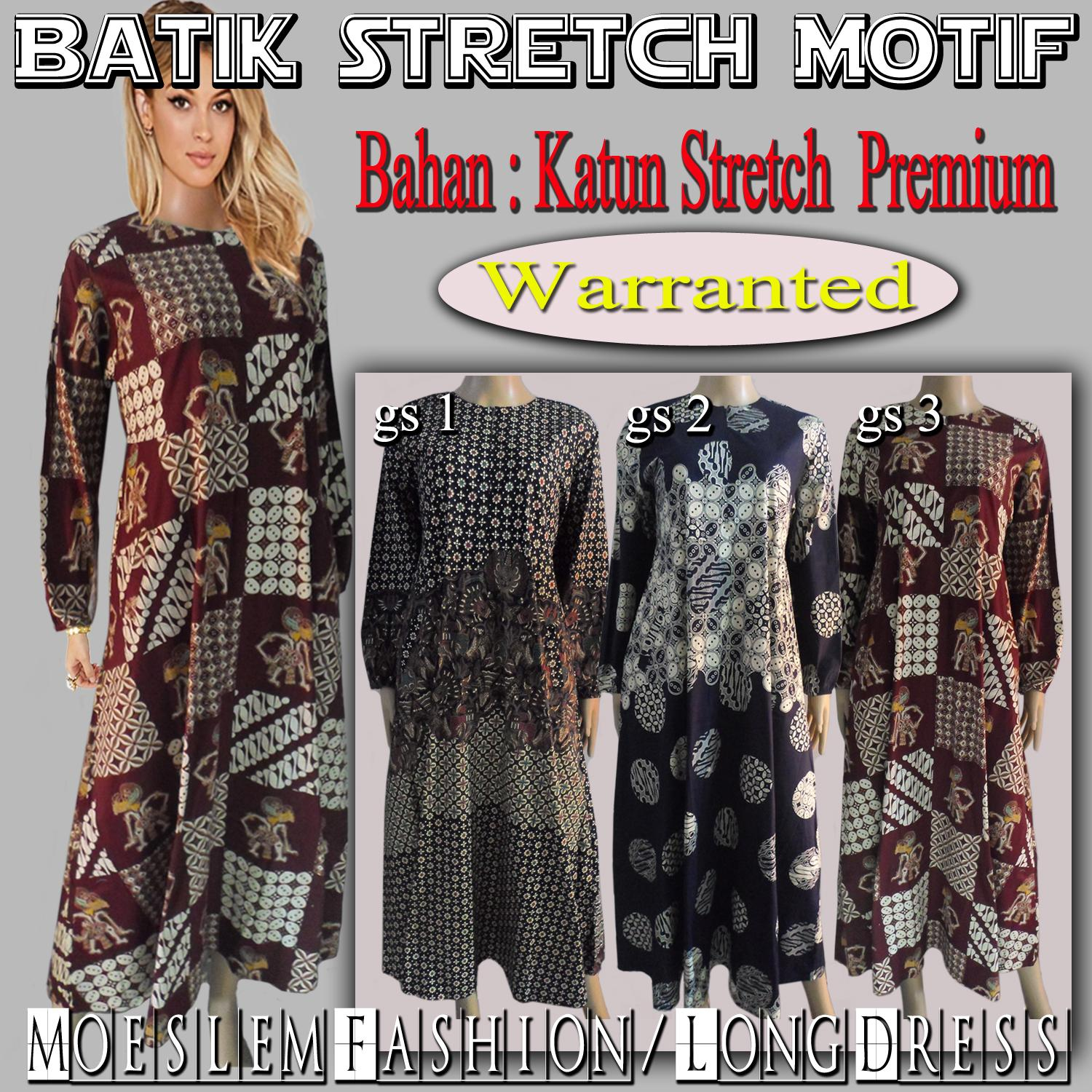 Gamis Batik / Long Dress Batik / Terusan Batik - Batik Stretch Premium Motif - GS2
