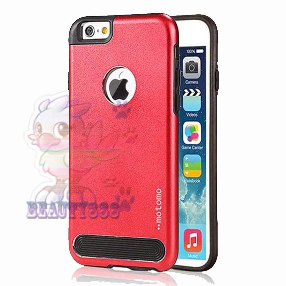 Motomo Hardshell Apple iPhone 6 Metal + Rubber Hard Back Case / Metal allumunium Case Apple iPhone 6G / Hard Back Cover / Casing HP / Motomo Hardcase iPhone 6S / Casing Iphone 6 / Case Iphone 6 / Back Case Iphone 6 - Merah