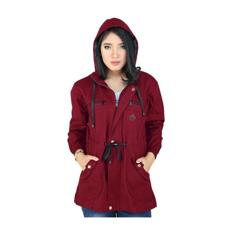 Jaket Parka Hoodie Wanita Merah Marun RSE 060
