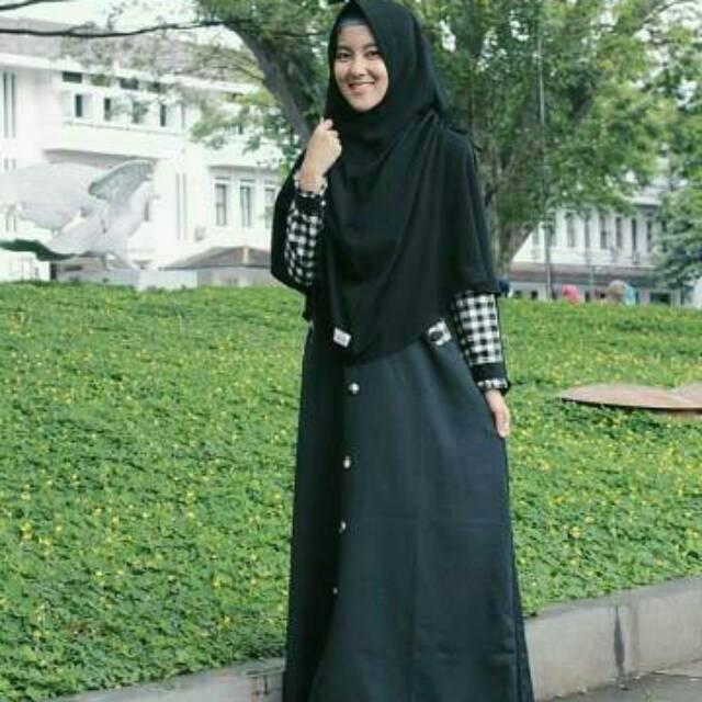 Gamis kotak kotak asoka busana muslima dress muslimah syari longdress remaja tanah abang modern (deep purple)