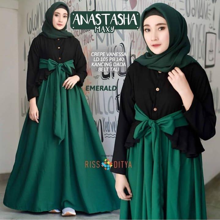 Baju Murah Terbaru Gamis Anastasya maxi Dress Baju Baloteli Baju Terusan  Wanita Gamis Casual Baju Panjang 9ddc5f6a71