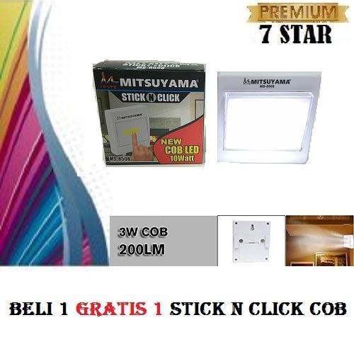 PROMO BUY 1 GET 1 7STAR Lampu Emergency LED COB Mitsuyama MS 8508 Stick N Click LED - Tinggal Tempel Dinding - Putih