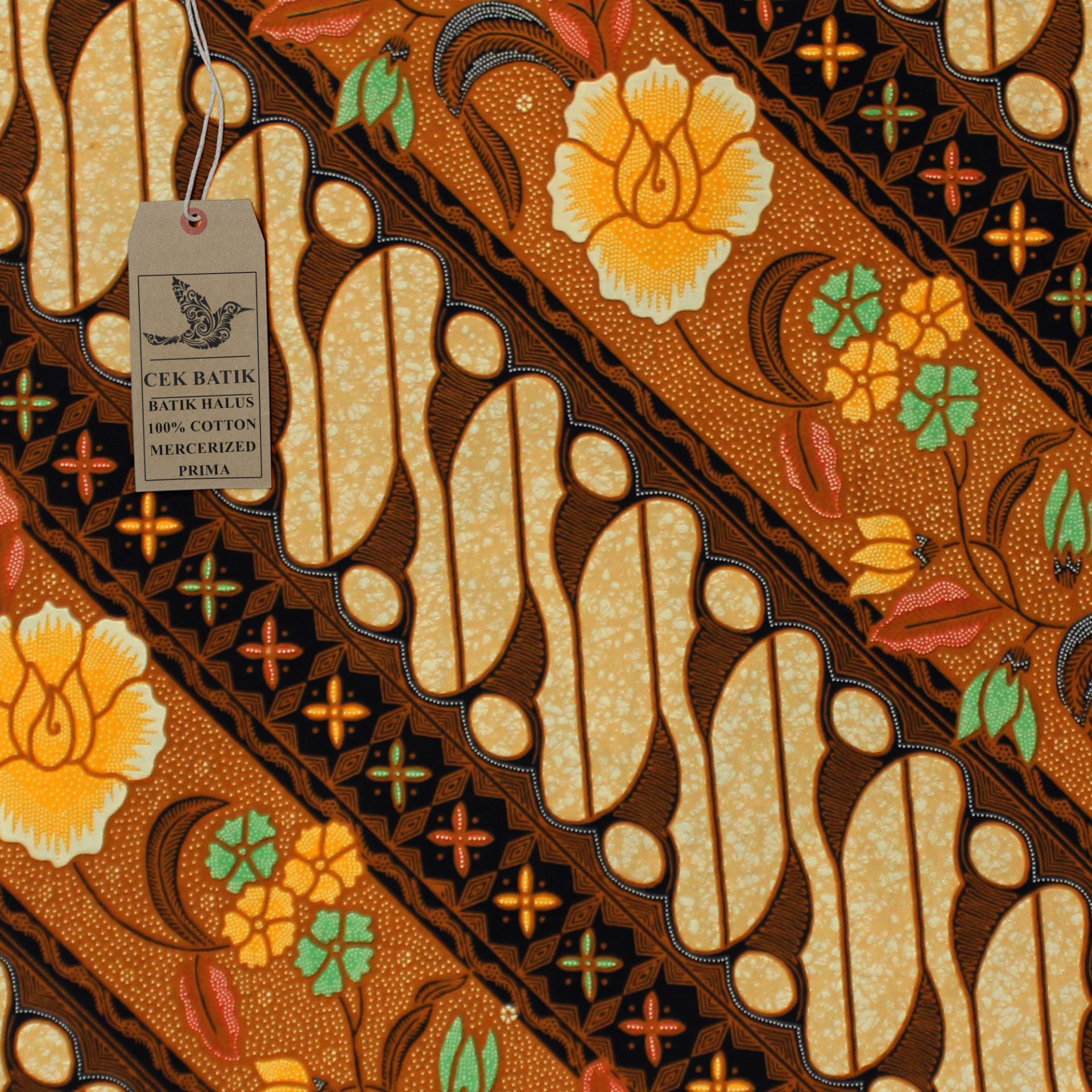Cek Batik - Kain Batik Motif Etnik & Modern Pesona Parang Bunga Gading (Coklat Muda)