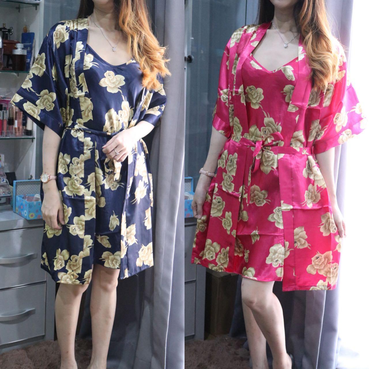Flam/komono satin/kimono import/kimono murah/kimono bunga/baju tidur