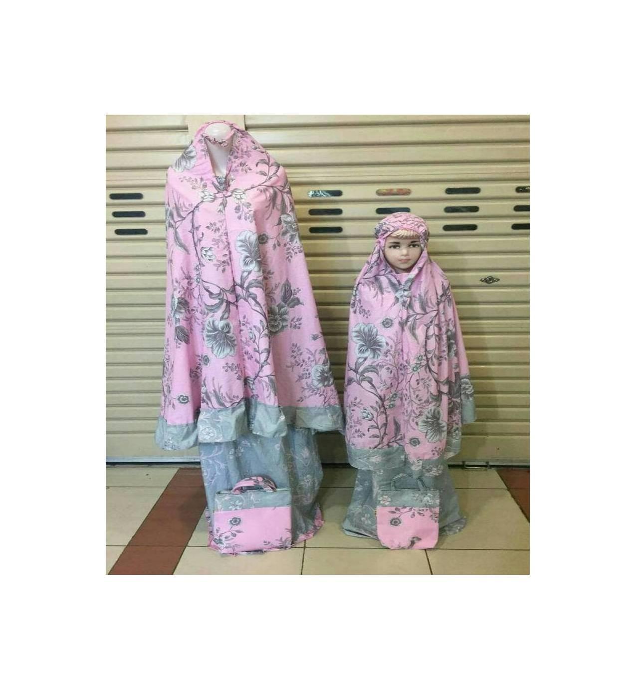 MURAH! mukena ibu dan anak katun jepang flower pink