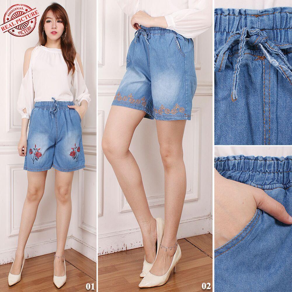 Atasan blouse jeans kemeja wanita jumbo shirt Arnessa - 01 biru muda | Lazada Indonesia