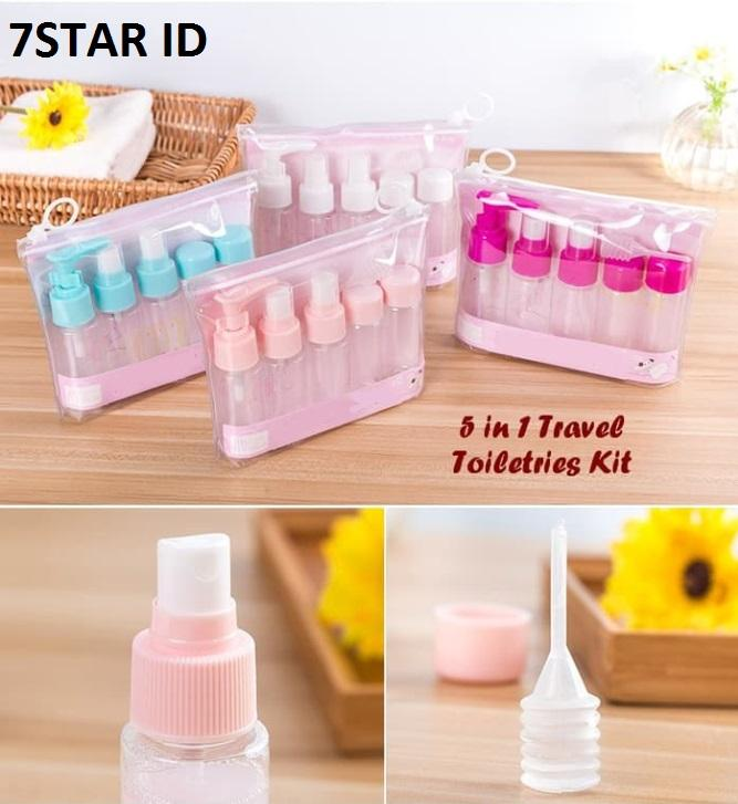5 In 1 Travel Toiletries Kit 7star - Travel Toiletries Kit 5 In 1 Praktis ( 1 Set Isi 5 Pcs Botol) By 7star Id.
