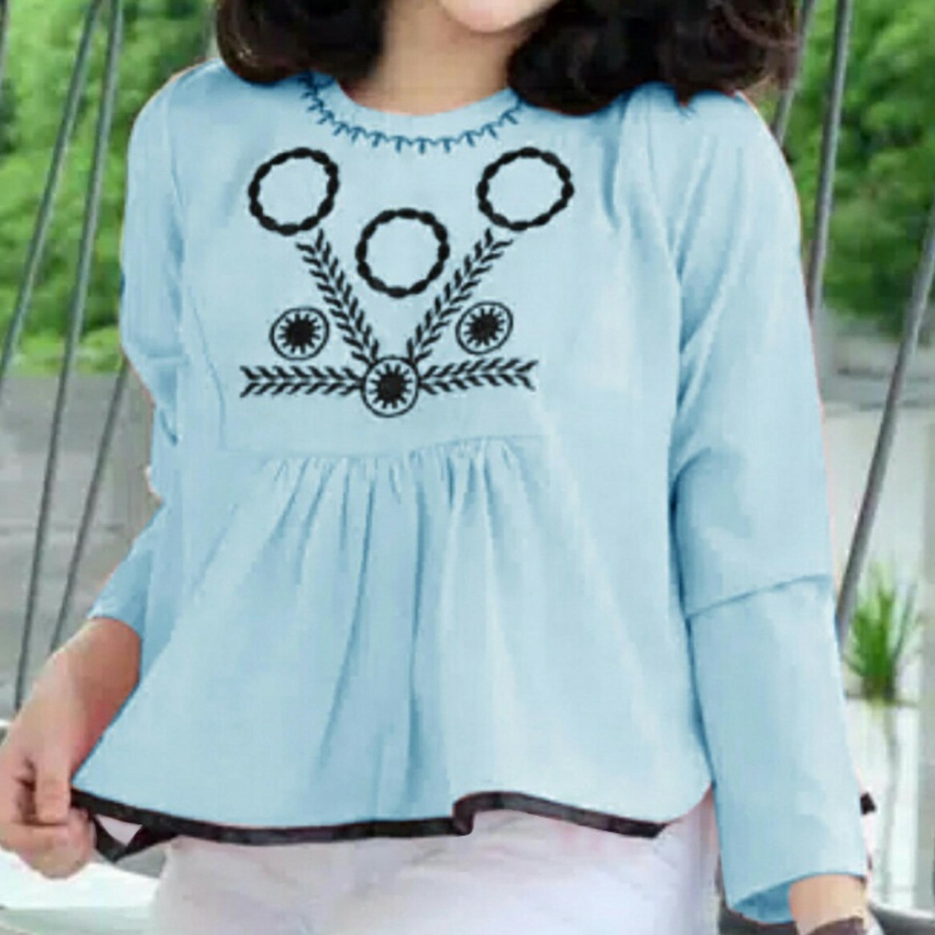 Chrystion Blouse Wanita Baju Atasan Lengan Panjang Printing Baju Atasan Baju Kerja Nia Bella