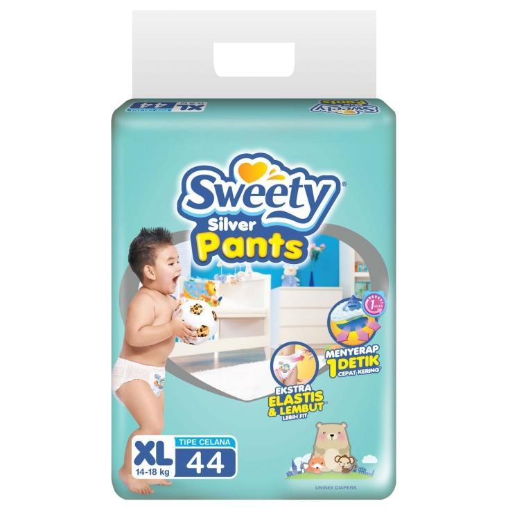 Sweety Silver Pants Popok Bayi dan Anak Unisex Diapers Tipe Celana Size XL - 44 Pcs ( 3 Pack = 132 Pcs )