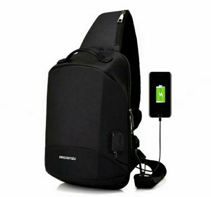 SELALU ADA - Tas Slempang Selempang Jinjing import - Anti Maling Versi Terbaru - Anti Air + plus Colokan USB Charger dan Earphone