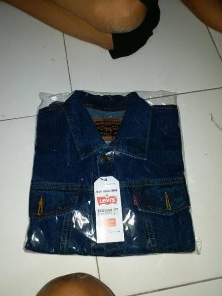 Best Top Seller!! Jual Cuci Gudang Jaket Levis Jeans Pria Denim Trucker Motor Hitam - ready stock