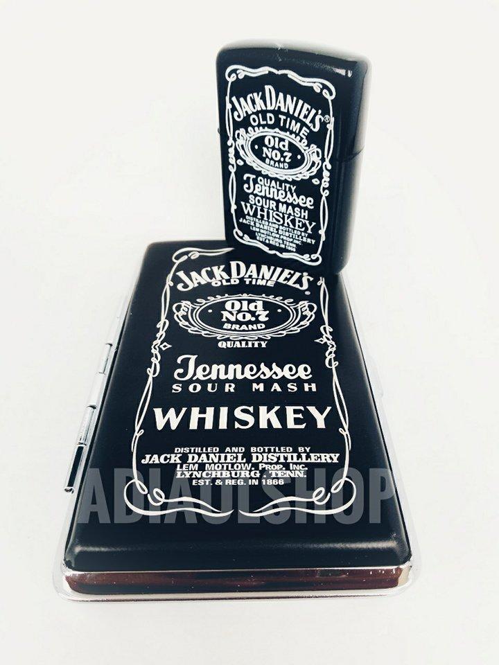 Combo Kotak Rokok Plus Korek Motif Jack Daniel - Hitam