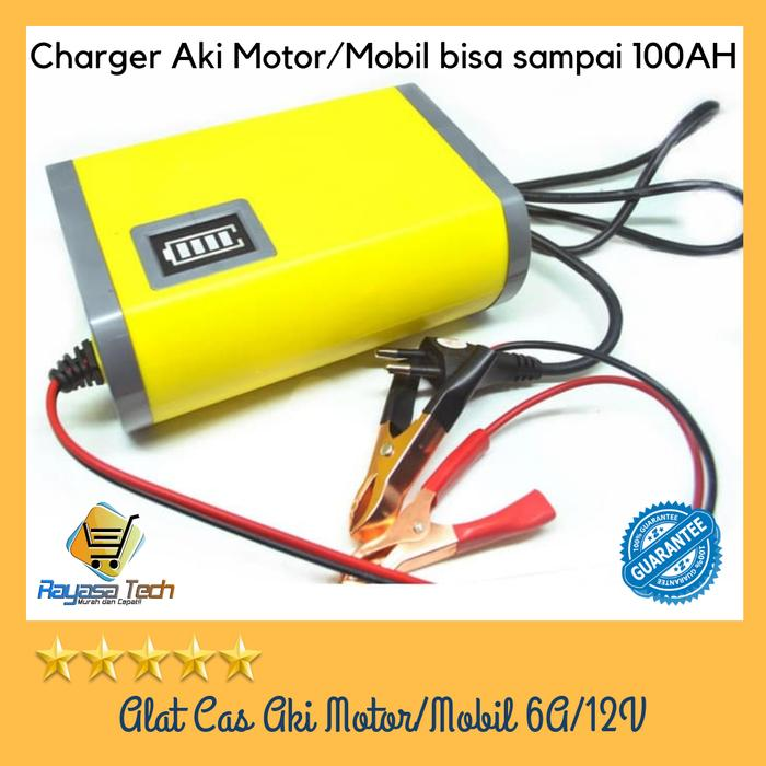 Promo!!! Alat Cas Aki Motor&Mobil/Portable Motorcycle Car Battery Charger 6A/12 Stock Banyak