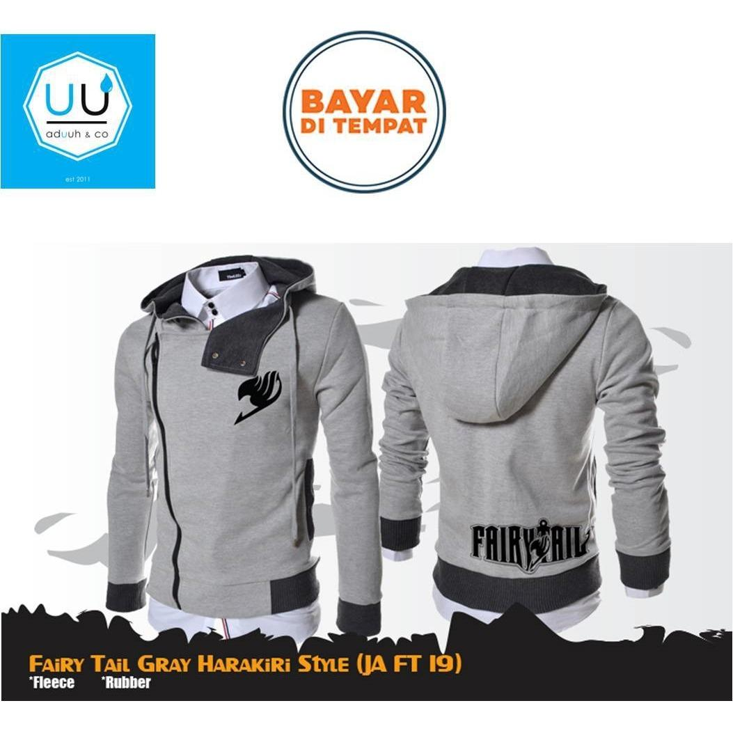 Jaket Harakiri Hoodie Zipper Anime Fairy Tail Style Gray Best Seller ( JA FT 19 ) - Grey