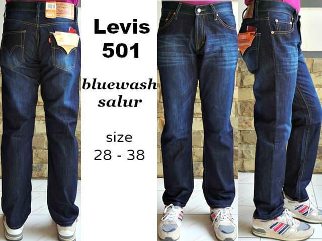 PROMO !! Celana Cowok Jeans Pria Murah Merk Levis 501 BlueWash Salur