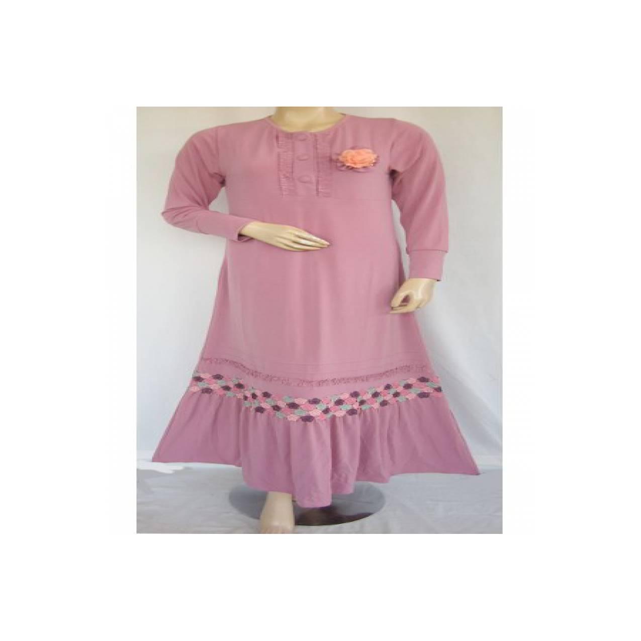Gamis Iwakuni Syar`i Renda Bordir GI9679 - dusty pink, M