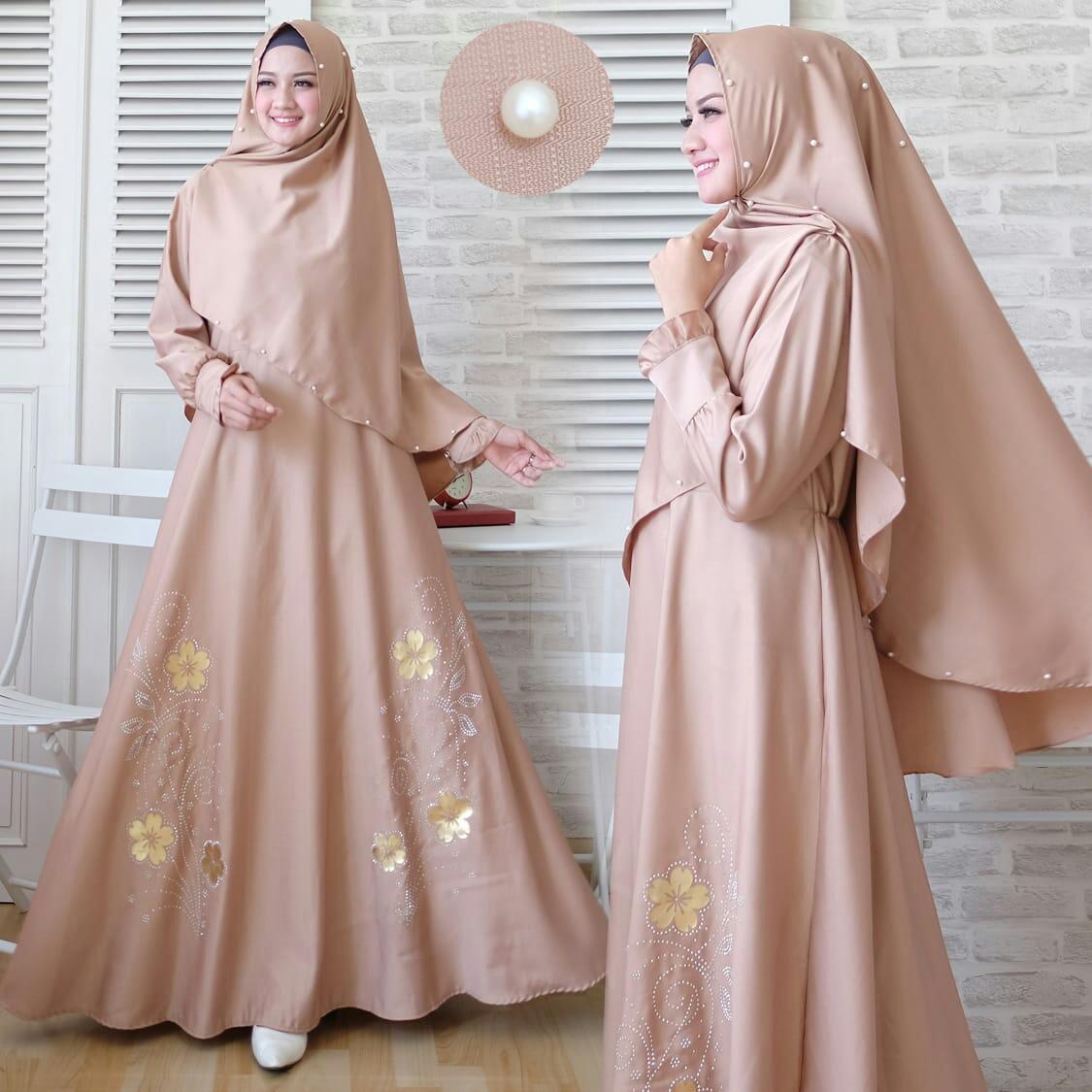 Baju Muslim Wanita Gamis Modern Terbaru Maxi Emma 23 Gamia Model Kekinian Janela Syari Umbrella Real Pict