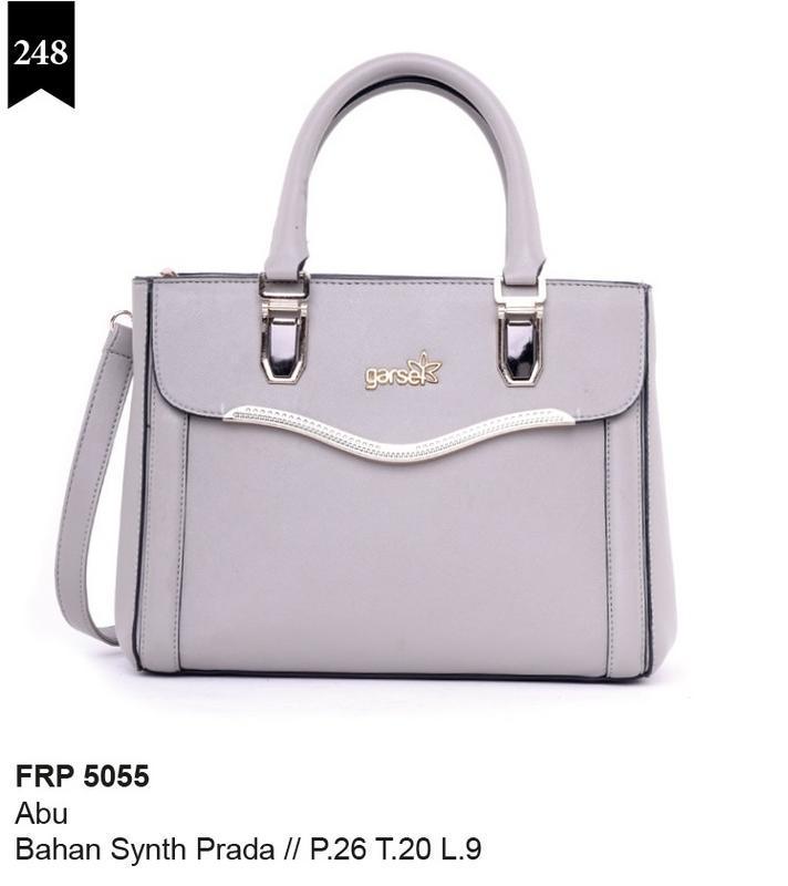 Garsel Fashion Tas Wanita Handlebag - bahan sintetis prada - 26x20x9 Murah & berkualitas (Abu-Abu) FRP 5055