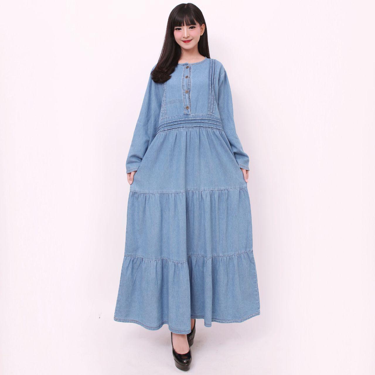 168 Collection Dress Maxi Manila Gamis Longress Jeans Jumbo Wanita