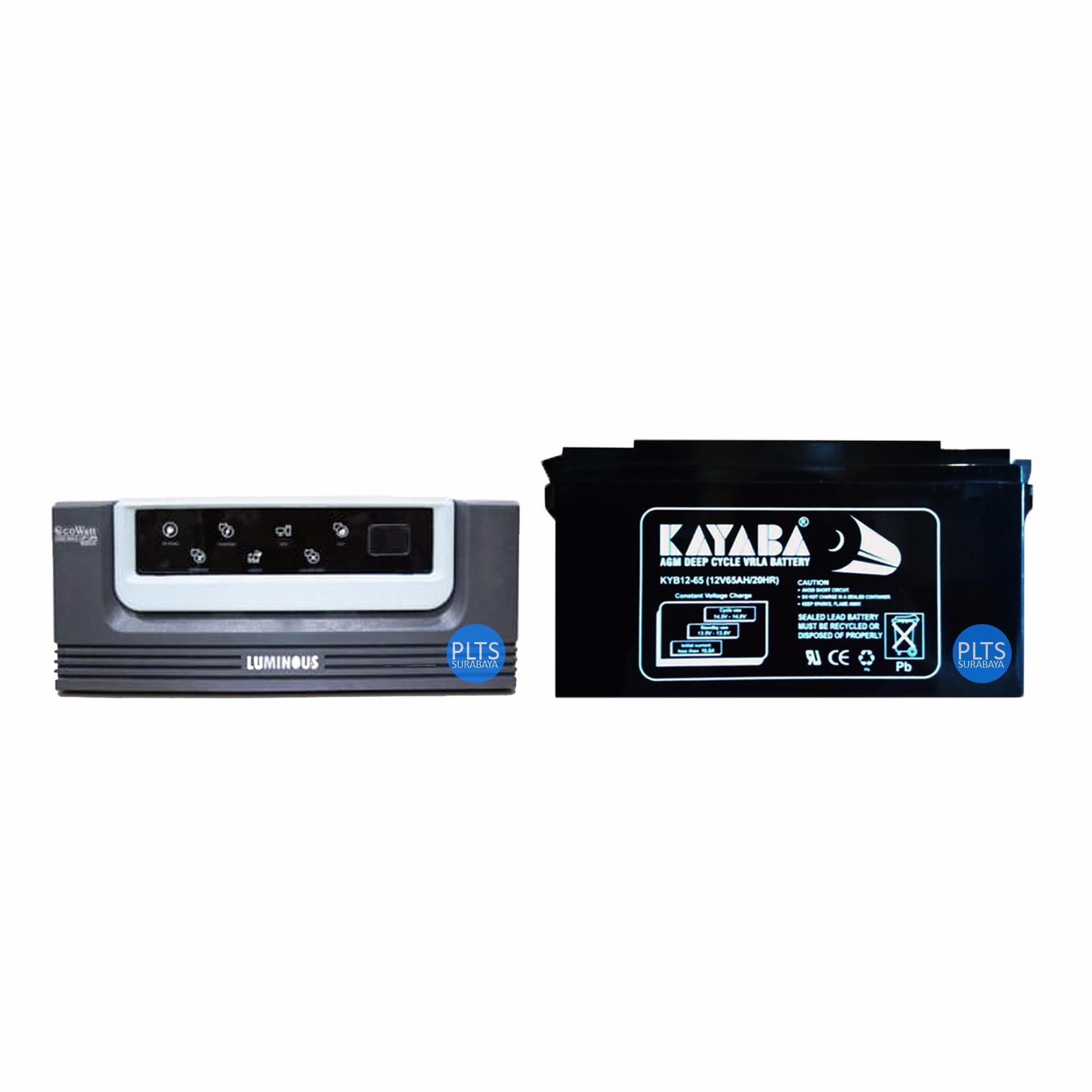 Paket Hemat Inverter Luminous Ecowatt 700VA + Aki Kering VRLA KAYABA 12v 65AH