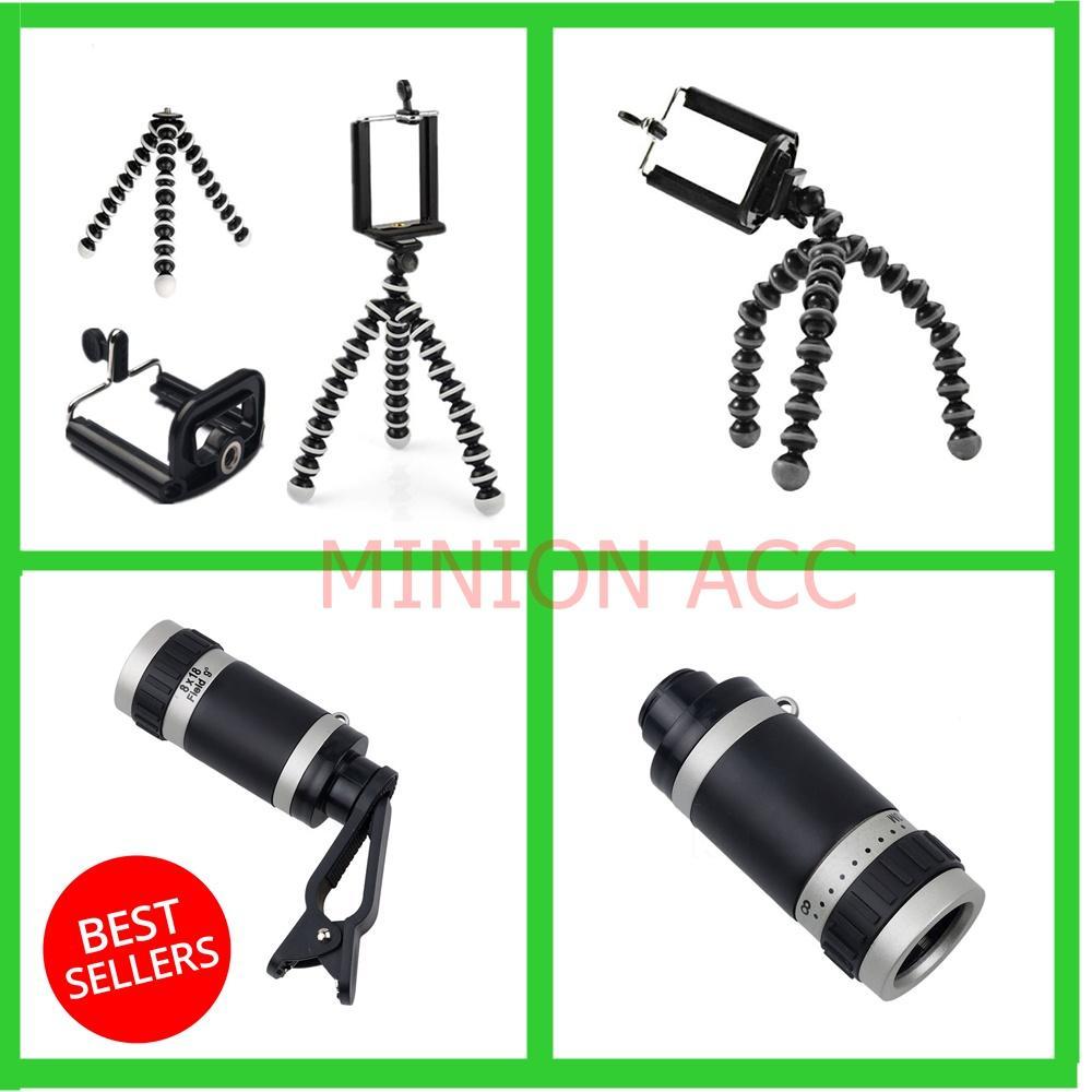 Universal Tripod Mini Gorila / Mini Tripod + Holder U + Universal 8 x perkecil tampilan HD untuk lensa optik teleskop ponsel kamera