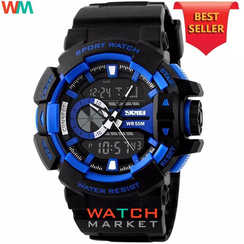 SKMEI Casio Dual Time Men Sport LED Watch Anti Air Water Resistant WR 50m AD1117 Jam Tangan Pria Me