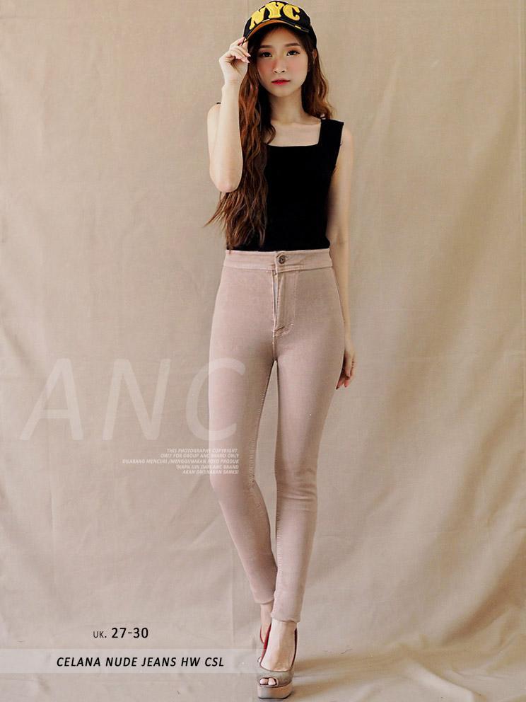 (TERKINI) Celana HW Jeans Wanita - Celana Nude Jeans HW CSL (uk 27